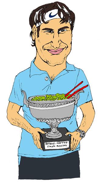 Maintenant que Rafael NADAL a perdu, Roger FEDERER se verrait bien gagner le saladier d'argent, mais comptez pas sur lui pour tourner la salade (écrit et dessiné par Lolmède)
