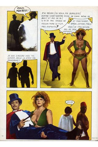 deuxième et dernière planche du roman photo mis en scène par F. Fellini : Mandrake-Marcello fait apparaître la buraliste de Frosinone