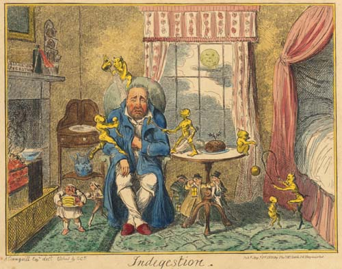 Crie de foie, l'indigestion - George Cruikshank, published by Thomas McLean, 26 Haymarket, August 1, 1835.