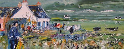 Promenade, peinture de Christian Sanséau (droits de reproduction réservés) - cliquer sur l'image pour accéder au site de l'exposition du peintre à la galerie Emotion Plurielle à Missillac (44), août 2010