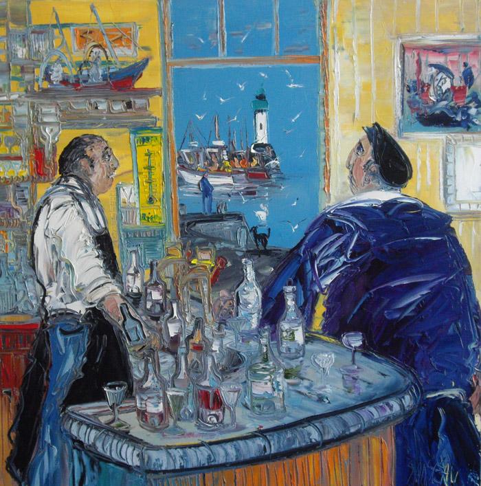 Au bar de la marine, peinture de Christian Sanséau (droits de reproduction réservés) - cliquer sur l'image pour voir le site de l'exposition du peintre à la galerie Emotion Plurielle, Missillac (44), août 2010