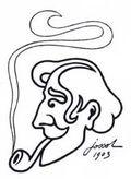 """Jossot (1866-1951) - autoportrait, 1903 - Maître de l'affiche et dessinateur incontournable de """"L'Assiette au Beurre"""", Jossot a donné à la caricature son statut d'art moderne. Dessinateur avant-gardiste, antimilitariste et anticlérical violent, Jossot considérait la caricature comme un art à la fois décoratif et expressionniste. Ecoeuré par le matérialisme de l'Occident, Jossot est allé vivre en Tunisie où, attiré par le mysticisme musulman, il s'est converti à l'islam en 1913 avant d'achever sa vie en sceptique. Non content de fustiger les comportements grégaires des suppôts de la société industrielle, il a ainsi défié les conventions et foulé les frontières idéologiques. Parce qu'elle est avant tout l'oeuvre d'un philosophe assoiffé d'absolu, sa caricature est le lieu d'une quête métaphysique qui s'exerce avec une exigence, une franchise et une profondeur étonnantes. -- d'après la quatrième de couverture du catalogue de l'exposition -- Michel Dixmier et Henri Viltard, spécialistes de Jossot"""