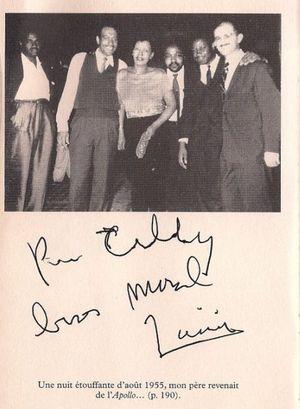photo illustrant L'Ame de Billie Holiday, roman de Marc-Edouard Nabe, dédicace au concert du 22 novembre 2008 au Duc des Lombards : pour Tilly bises Marcel Zanini