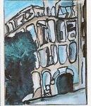 """Before """"Behind the Green Door"""", peinture de Marc-Edouard Nabe pour l'exposition """"Les Orients de Nabe"""" à l'Office du Tourisme du Liban, Paris, 2009 (voir le catalogue sur le site alainzannini.com) - après la reconstruction, """"Behind the Green Door"""" est aujourd'hui le nom d'un club hype de Beyrouth"""