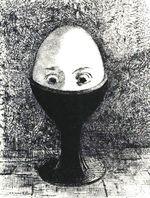 L'Oeuf, 1985 - Odilon Redon (1840-1916) - Lithographie sur Chine appliqué sur Vélin, Bibliothèque nationale de France, département des Estampes et de la Photographie