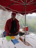 Franc Mallet : écrivain, éditeur et imprimeur de ses nombreux ouvrages dont beaucoup sur la presqu'île guérandaise et qu'il vend sur les marchés d'Asserac, Kercabellec, Kerinet, etc.