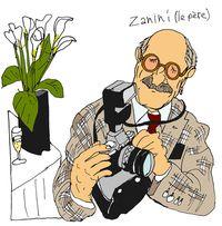 """Marcel Zanini by Lolmède (c) - à l'expo """"Les Orients de Nabe"""", Paris, mars 2009"""