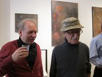 photo de moi : Marcel Zanini et Jackie Berroyer à la galerie L'Oeil du Huit, 11 avril 2011