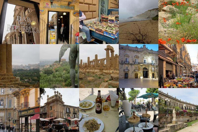 un tour de Sicile dans le sens contraire des auiguilles d'une montre - 29 avril au 9 mai 2011 (cliquer pour agrandir le montage)