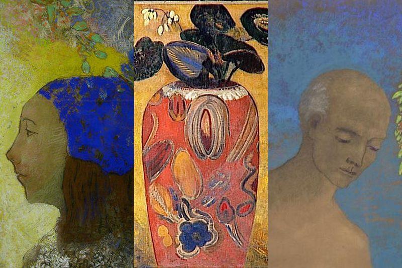 montage d'images google - Odilon Redon, La jeune fille au bonnet bleu, La plante verte dans une urne, La Couronne