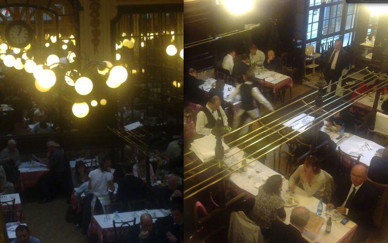 photos prises de la mezzanine, ce 2 mai 2012, déjeuner pour deux : 1/2 Buzet rouge, 1 bar rôti aux graines de fenouil (moi), 1 sauté de porc, deux riz au lait, 1 café (moi ) pour 35,30 euros