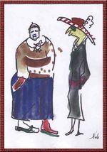 Gertrude Stein et Alice Toklas, aquarelle de Marc-Edouard Nabe (c)