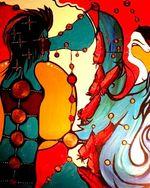 La Rencontre — (c) Stefany Tremblay / Eruoma Awashish - Acrylique sur toile 2008