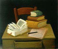 nature morte aux livres de Fernando Botero