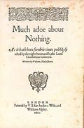 "250px-Much_Ado_Quarto (sur wikipedia) : Couverture du premier in quarto (1600) aka ""Beaucoup de bruit pour rien"""