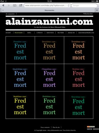 capture ecran alainzannini.com  > nouveautés