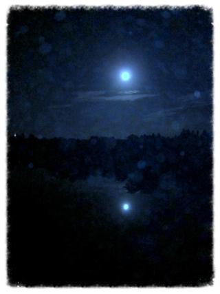 pleine lune d'août et son reflet dans l'étang - la technique laisse à désirer, mais l'atmosphère y est (prise lundi -- comme il se doit -- soir vers 23:30) - à Missillac