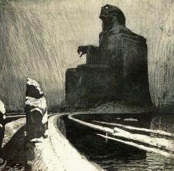 """L'Idole noire (1900) Aquatinte de Frantisek Kupka (1871-1957) Centre Pompidou, Paris — """"Par une sombre route déserte, hantée de mauvais anges seuls, où une Idole, nommée Nuit, sur un trône noir règne debout, je ne suis arrivé en ces terres-ci que nouvellement d'une extrême et vague Thulé, — d'un étrange et fatidique climat qui gît, sublime, hors de l'Espace, hors du Temps."""" E.A.Poe, Terre de Songe, 1889"""