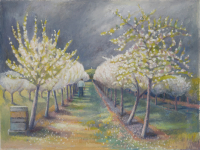 "peinture de mon amie Kate Lynch : ""Andrew Hecks in the Glastonbury orchard, blossom time""  katelynch.co.uk ; son mari James est également peintre : www.james-lynch.co.uk"