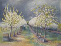"""peinture de mon amie Kate Lynch : """"Andrew Hecks in the Glastonbury orchard, blossom time""""  katelynch.co.uk ; son mari James est également peintre : www.james-lynch.co.uk"""